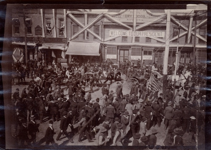 President Benjamin Harrison visiting Salt Lake City, Utah, during his western tour as president. Can you find Harrison in the photo?