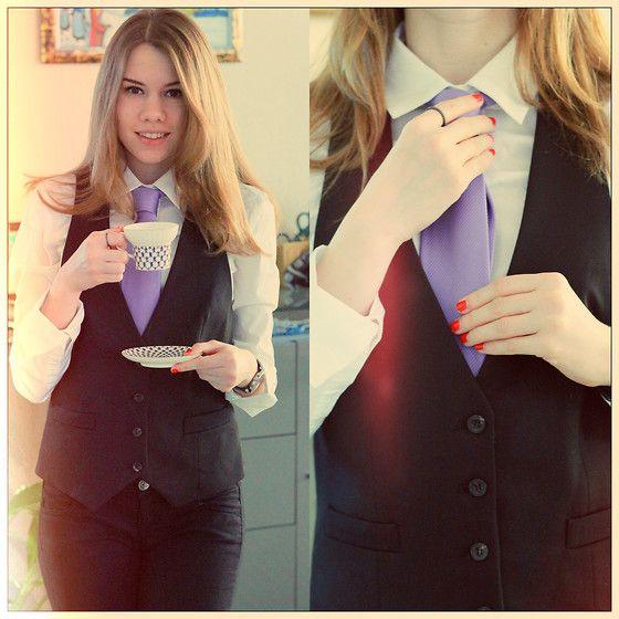 Mango Blouse, Valentino Purple Tie, Mango Classic Vest, United Colors Of Benetton Black Jeggins, Calvin Klein Black Watches