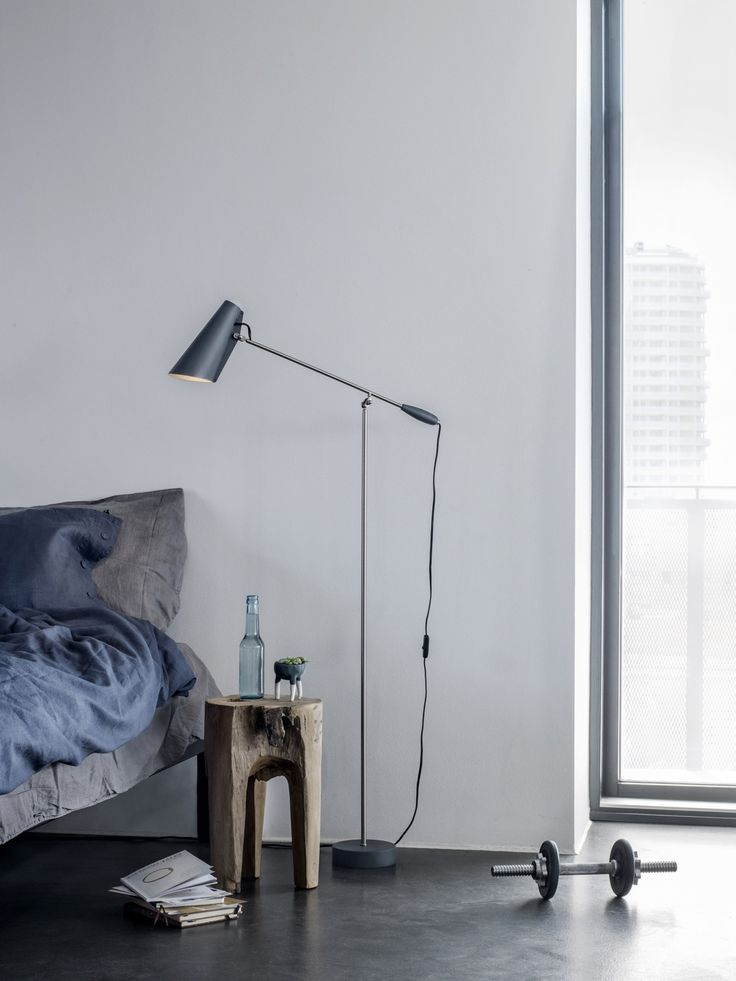 Birdy floor lamp in grey and metallic photo by chris tonnesen