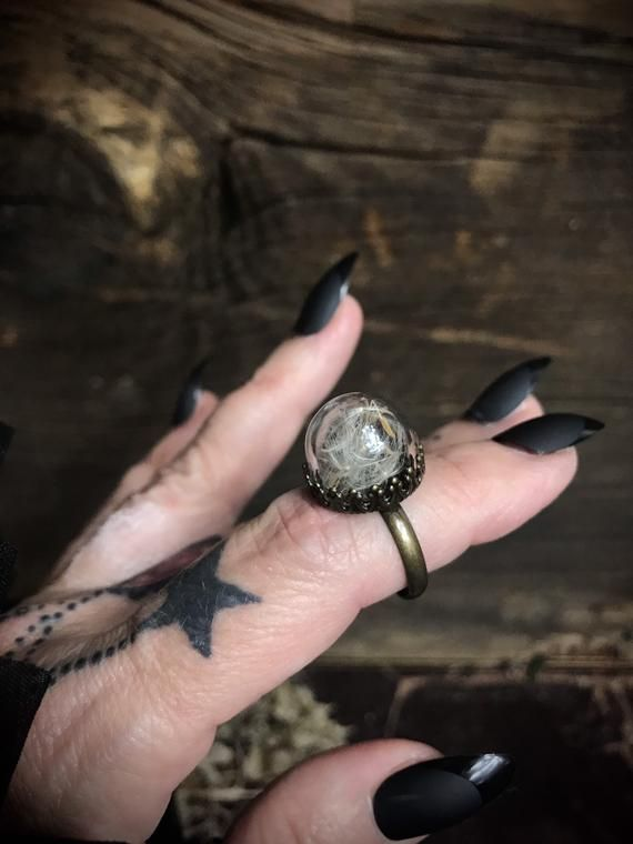 Occult Jewelry Single Stone /'Super Moon/' Ring Sterling Silver Dark Gothic Pagan Witchy