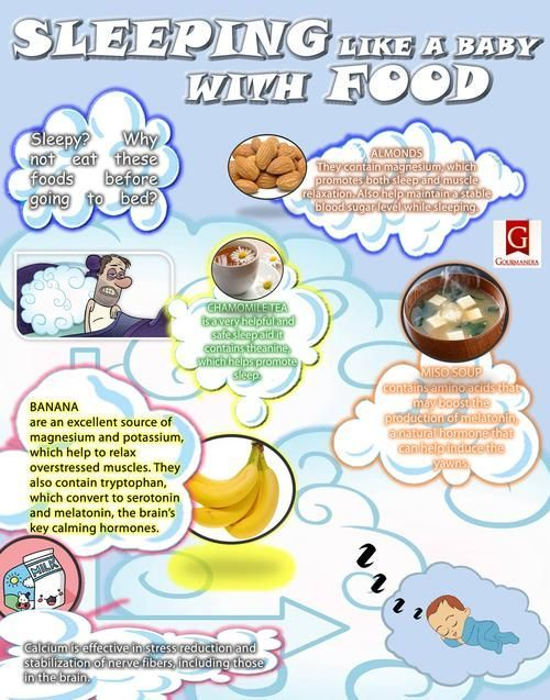 Foods that Help Good Sleep - This is an interesting chart of foods that are known to help sleeplessness and insomnia. In particular, calcium for calming insomnia is supported by research studies. In one study from the European Neurology Journal, researchers found that calcium levels in the body are higher during some of the deepest levels of sleep, such as the rapid eye movement (REM) phase. Read more here: http://www.nutritionbreakthroughs.com/html/sleep_remedy_for_insomnia_help.html