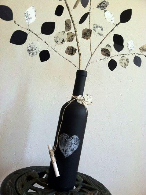 UpCycled Chalkboard Wine Bottle  EcoFriendly by kandvcrafts