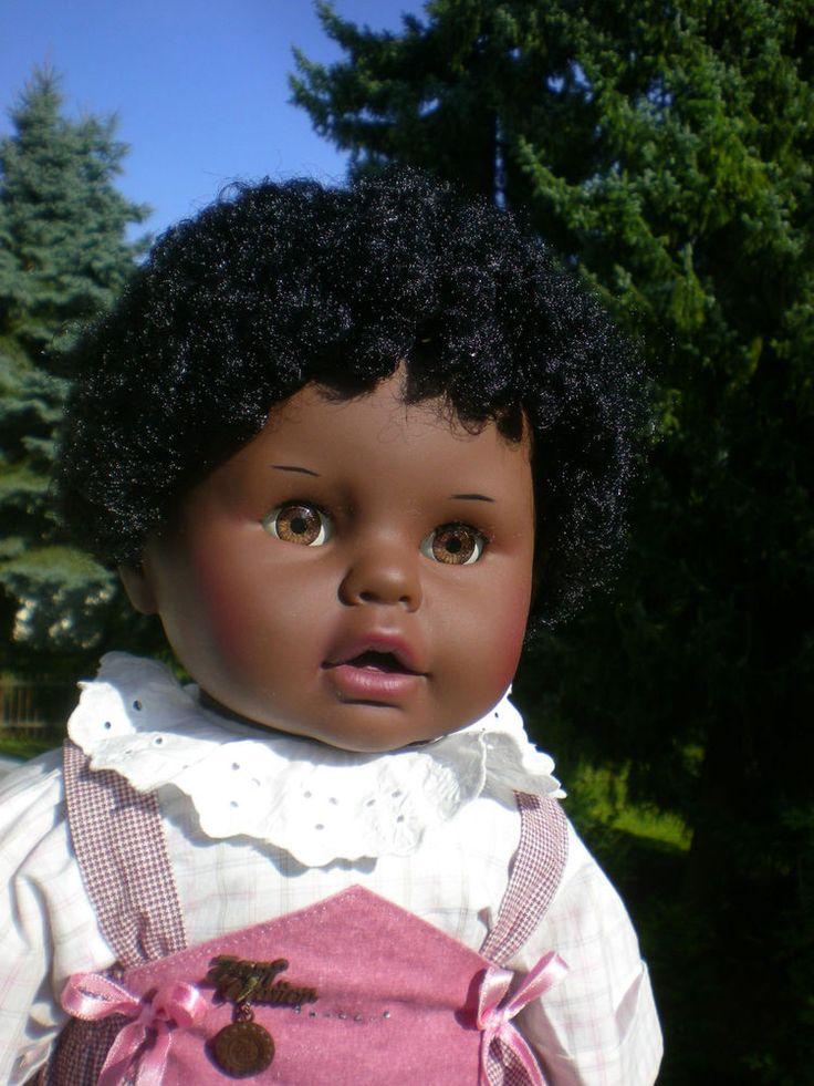 große dunkle Zapf Puppe 62 cm Junge Originalkleidung + Matrosenanzug Baby Doll