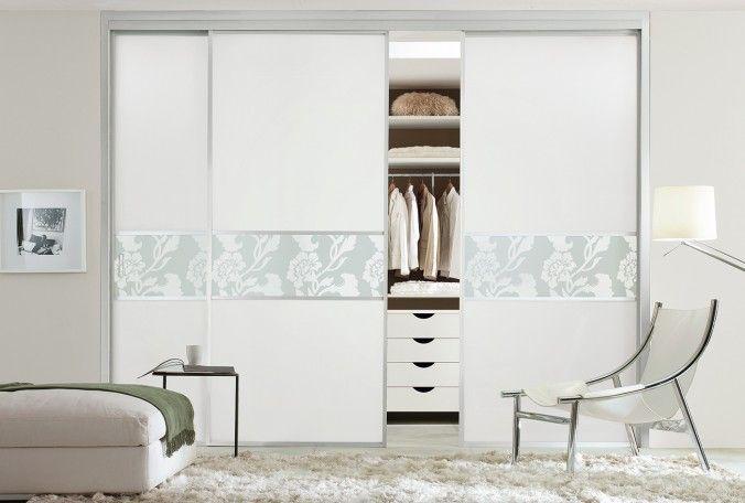 white and floral glass sharps wardrobe bedroom furniture. Black Bedroom Furniture Sets. Home Design Ideas