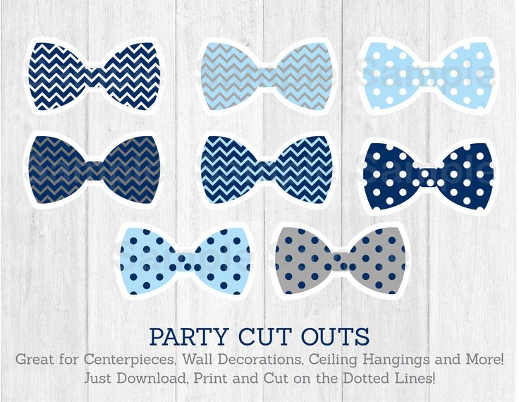 Bow Tie Cut Outs / Little Man Baby Shower / Chevron Bow Tie / Polka Dot / Centerpiece / Party Decor / Printable INSTANT DOWNLOAD.