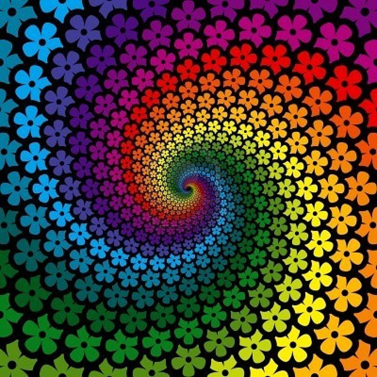 graphic design: swirls of small flowers in rainbow lines spiral downward ... beautiful!