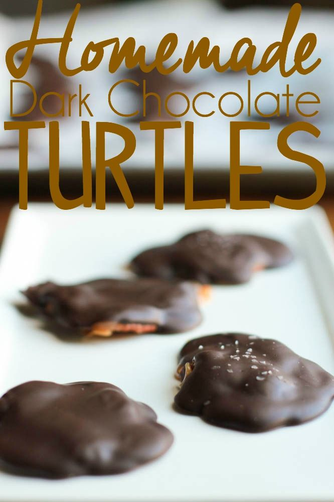 Homemade Dark Chocolate Turtles Recipe made with crunchy pecans, dark chocolate and creamy caramel.