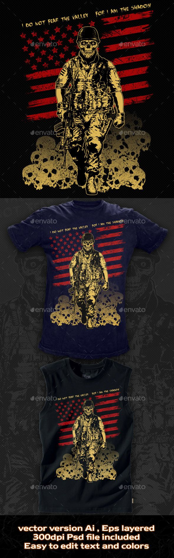 T-shirt Illustration The Skull Soldier - Grunge Designs