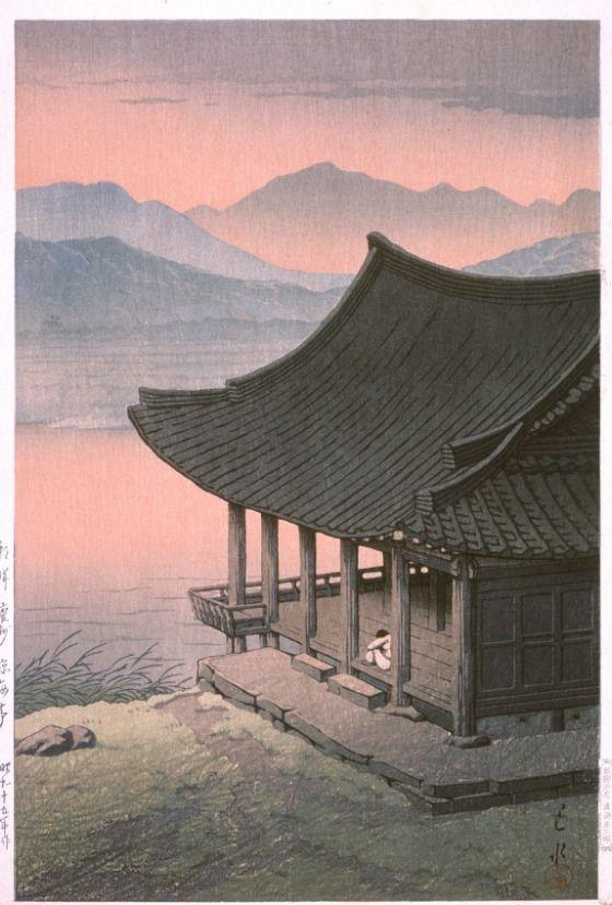 """Imhae Pavilion, Keishu, Korea"" from the series ""Eight Views of Korea"" by the Japanese artist Kawase Hasui (1883-1957),1940 [Keishu was the Japanese name for Gyeongju during the Japanese occupation, 1910-1945]"