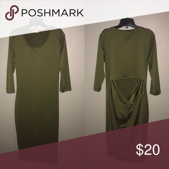 Green Dress Pink Clubwear 2XL Olive Dress Open Back • 92% Polyester 8% Spandex Pink Clubwear Dresses Midi