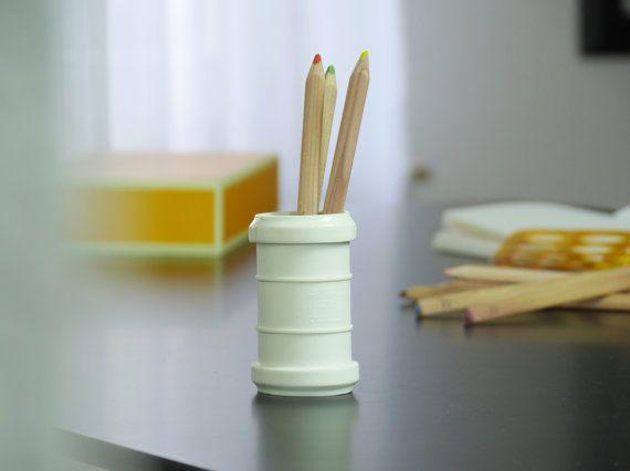 Modern porcelain vase Rohr45, white extraordinary vase, contemporary ceramics, industrial Design vase, white flower vase, minimalist vase