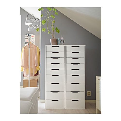 ALEX Drawer unit with 9 drawers, white $129.00 Article Number: 501.928.22 High unit with many drawers means plenty of storage on minimum floor space. Read more Size 14 1/8x45 1/4 ""