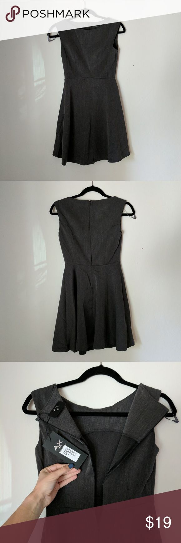 Ax Paris skater dress Ax Paris skater dress  - dark grey/charcoal color - brand new, never worn - excellent condition, no flaws - zipper on the back - size UK 8 AX Paris Dresses Mini