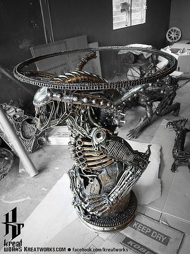 Dieselpunk recycled metal statues by Kreatworks   Alien Table. 304 best Artist   H R  Giger images on Pinterest   Hr giger art