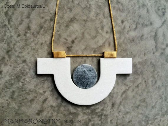 Large round shape double marble necklace with gold by Marmarometry