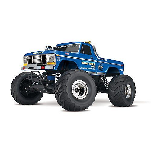 #Traxxas 36034-1 #Bigfoot No. 1 2WD 1/10 Scale #Monster #Truck Vehicle, Blue  Brilliant blue metallic paint and chrome body accents replicate BIGFOOT No. 1 and its officially licensed F-100 Ford XLT Ranger body