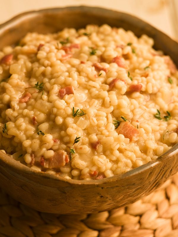 Barley risotto with bacon - my wife and I loved this one. It was delicious! Hmmmm, bacon...