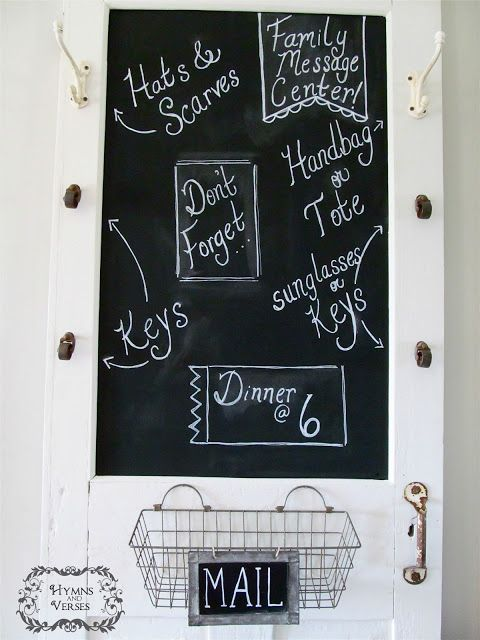 Old screen door turned into an awesome chalk board message center