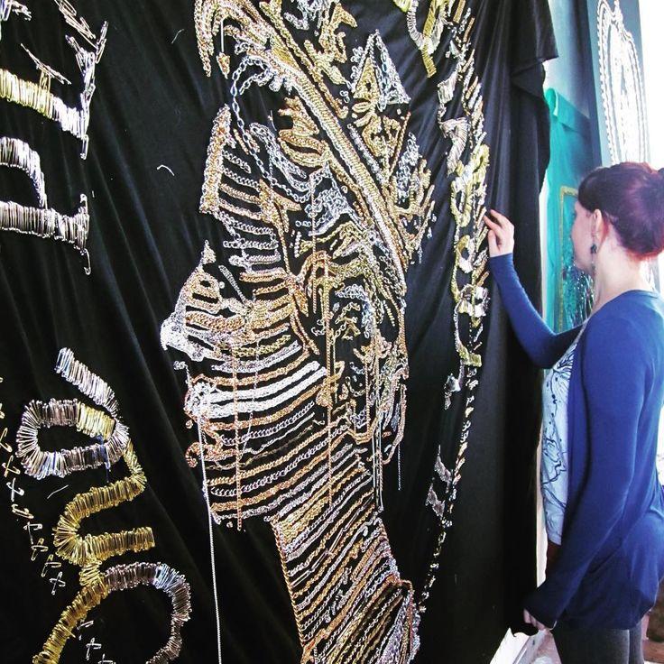 Katy cleaning up Queenie in the studio #chains #safety pins #punk  .  .  .  .  .  .  .  .  .  #queen #Punk #chain #royal #art #artist #workinprogress #artdesign #artistsstudio #margate #royalfamily #sculpture
