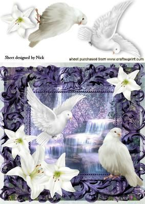 WHITE DOVES AND LILIES WITH WATERFALL 8X8 on Craftsuprint designed by Nick Bowley - WHITE DOVES AND LILIES WITH WATERFALL 8X8, Lots of other designs to see, makes a pretty card - Now available for download!