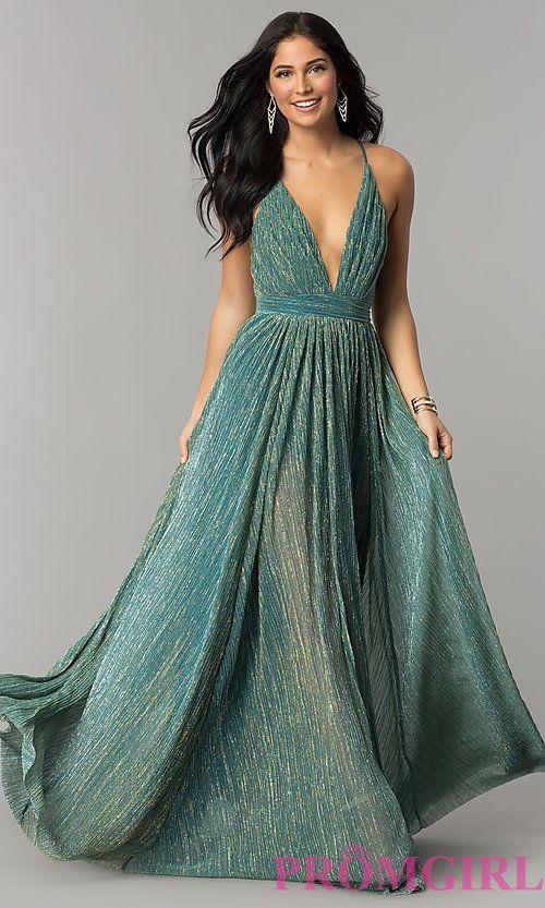 2ec69aca883 Long Metallic Crepe V-Neck Prom Dress