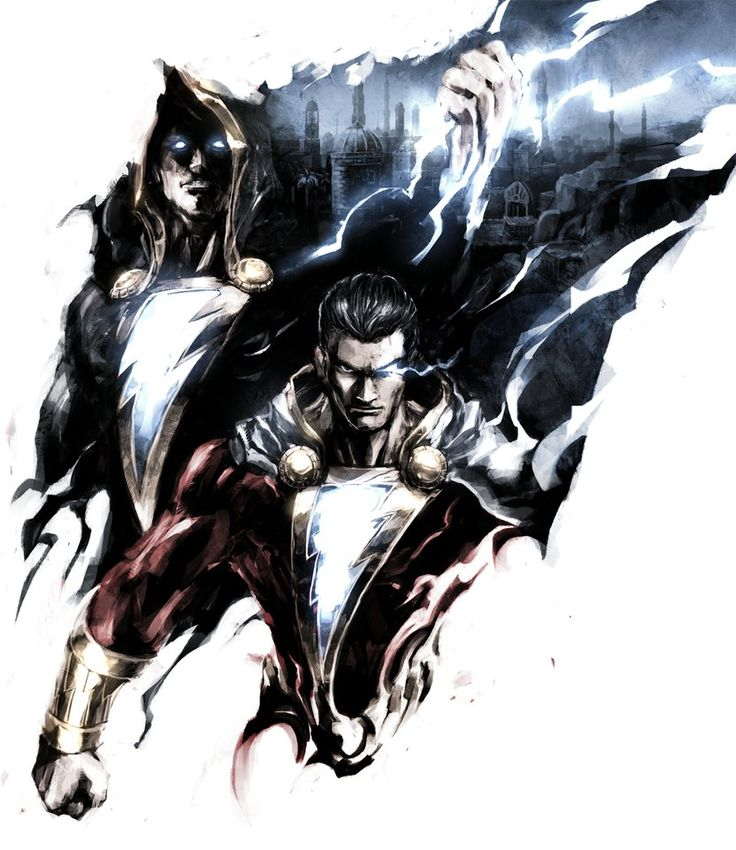 Shazam Movie Character Shazam and Black Adam Comic Book Art - DigitalEntertainmentReview.com