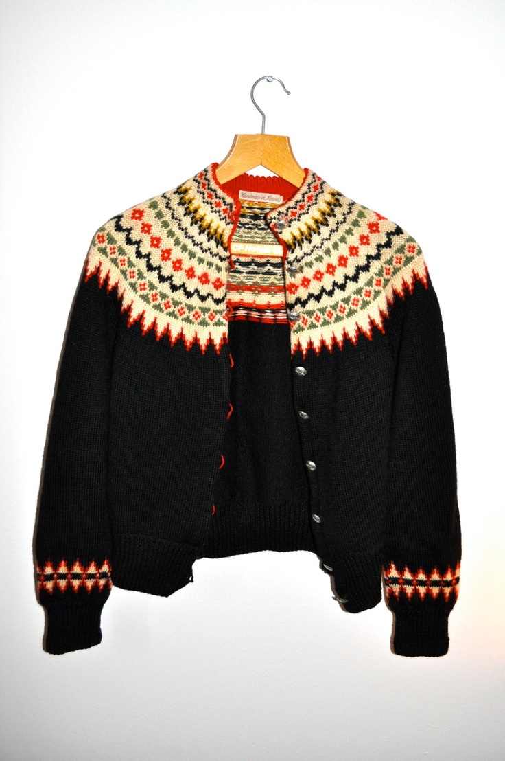 Made in Norway 50s skiing Nordic Norwegian silver buttons handknit cardigan sweater. $65.00, via Etsy.