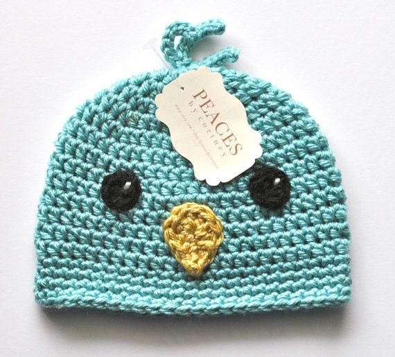 Baby Hats  Blue Bird Baby Beanie Hat Baby Gifts by peacesbycortney, $28.00