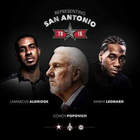 Spurs All-Stars. Spurs Coach Gregg Popovich, LaMarcus Aldridge & Kawhi Leonard. Go Spurs Go