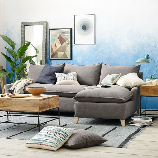Bliss Down Filled 2 Piece Chaise Sectional | West Elm | For The Home |  Pinterest | Bliss, Living Rooms And Room Part 53
