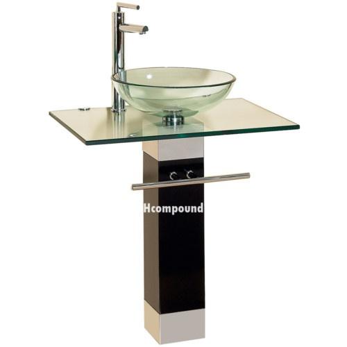 modern Bathroom vanities pedestal glass bowl vessel Sink combo w faucet set | eBay