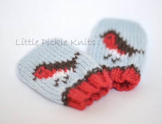 Knit these little Christmas robin baby mittens to keep your little one warm this winter. Little push on mittens without thumbs - easy dressing for little hands!  The pattern has instructions to knit mittens in the following sizes: newborn 3-6 months 6-12 months.  These mittens are knitted flat with Bergere De France Caline 4ply yarn on a pair of single pointed 2 3/4 and 3 1/4mm (US#2 and US#3) needles. Detailed information is given in your pattern.  My patterns are written so they are very…