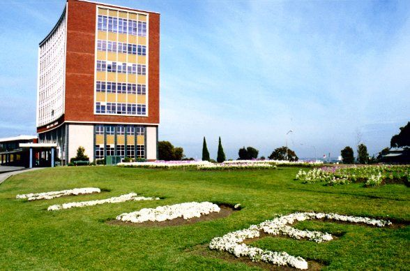 """Taken in 2003, with a beautiful planting on the lawns of the Civic Centre to spell out """"Ryde""""."""