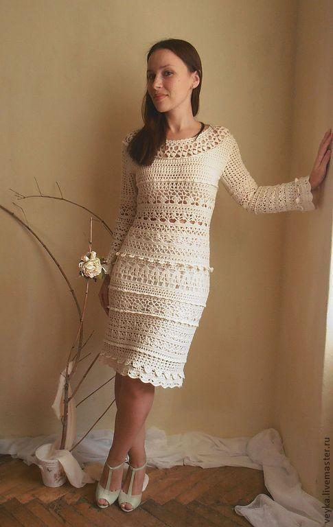 """Купить Платье """"Рандеву"""" - бежевый, платье вязаное, платье крючком, платье вечернее, Вязание крючком"""