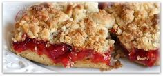 Cherry Crunch Dessert  made with cake mix and pie filing. Super easy.