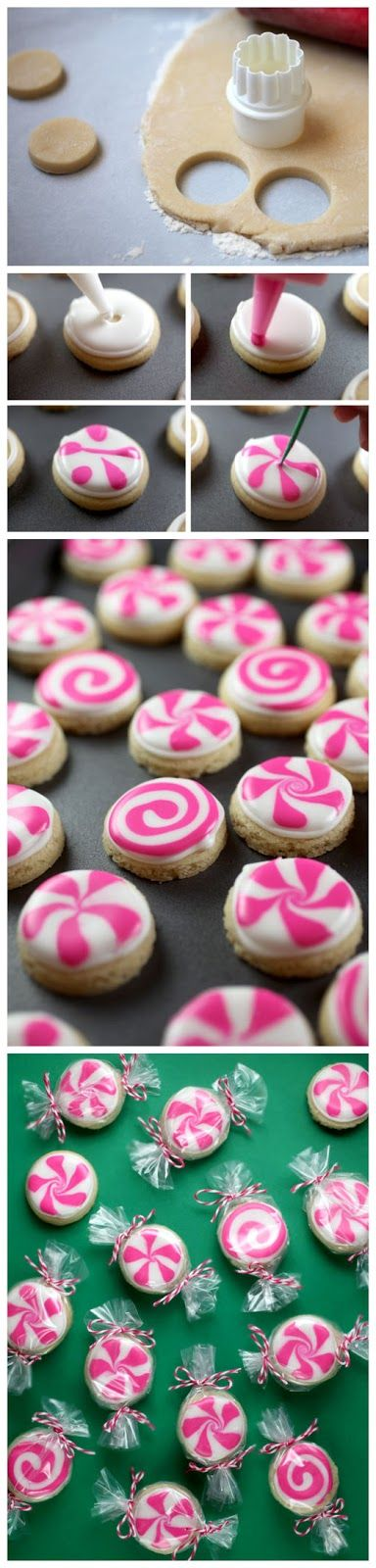 Peppermint Candy Sugar Cookies - I would use red and green instead of pink though!