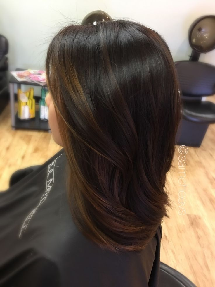 Black Dark Brown To Light Brown Balayage Ombre For