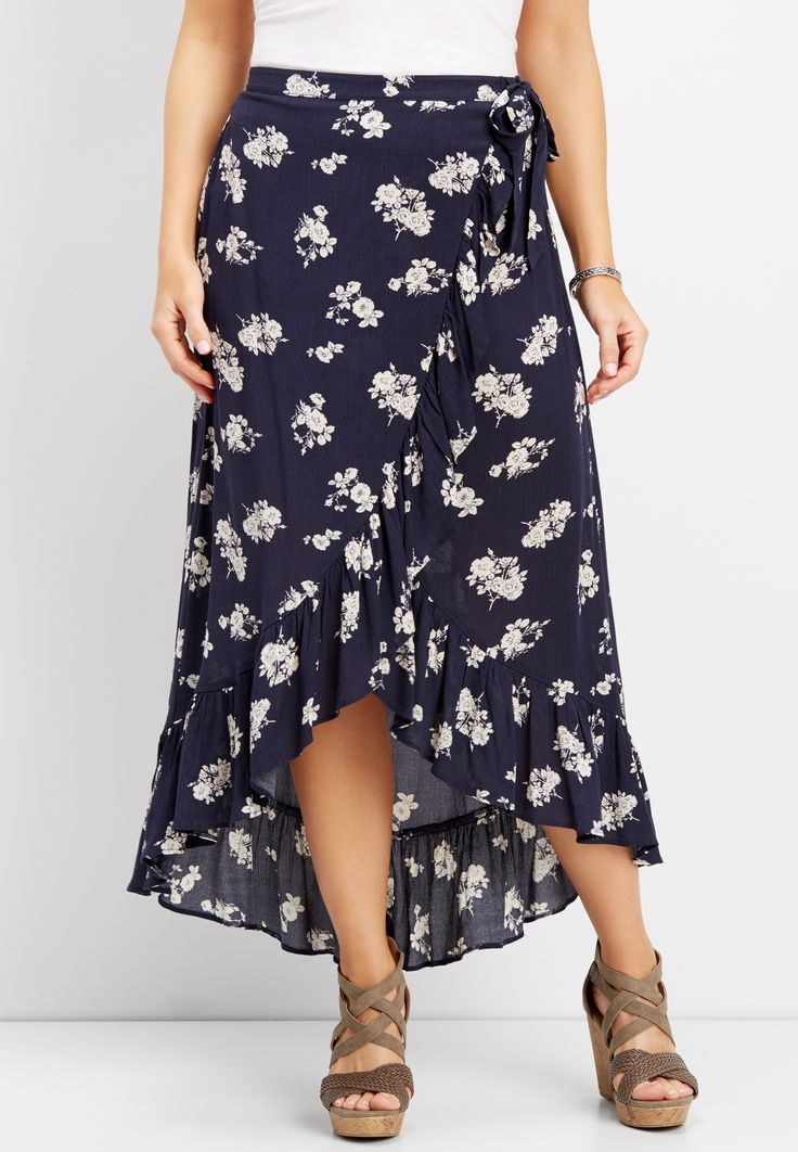 navy floral wrap maxi skirt (original price, $34.00) available at #Maurices