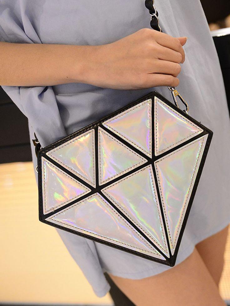 Silver Diamond Shaped Hologram Across Body Bag