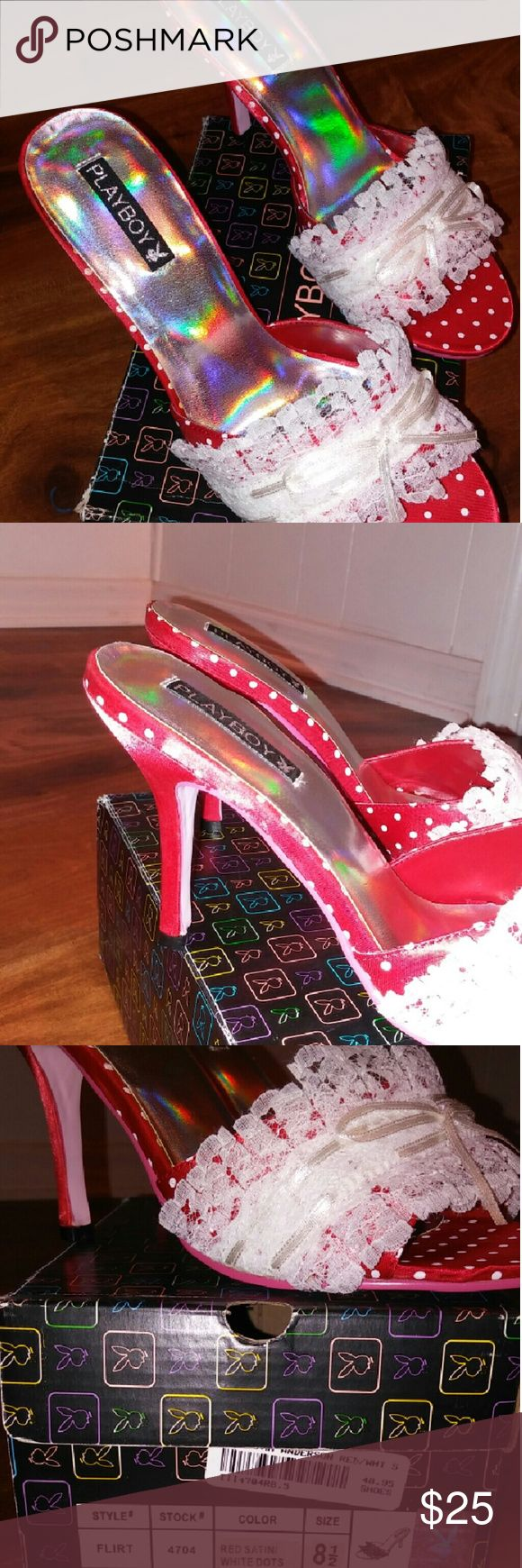 Playboy Heels🆕 NWT Pamela Anderson Red satin with polka dots.  I have size two sizes in these  8 1/2 and 6 1/2 Brand new still in box Value $48.95 Playboy Shoes Heels