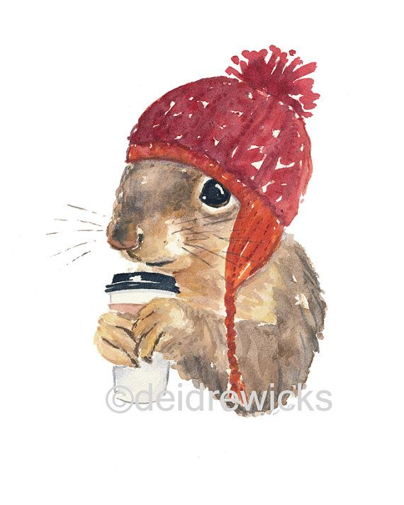 Squirrel écureuil café - 8 x 10 papier aquarelle, dans une aquarelle animaux…