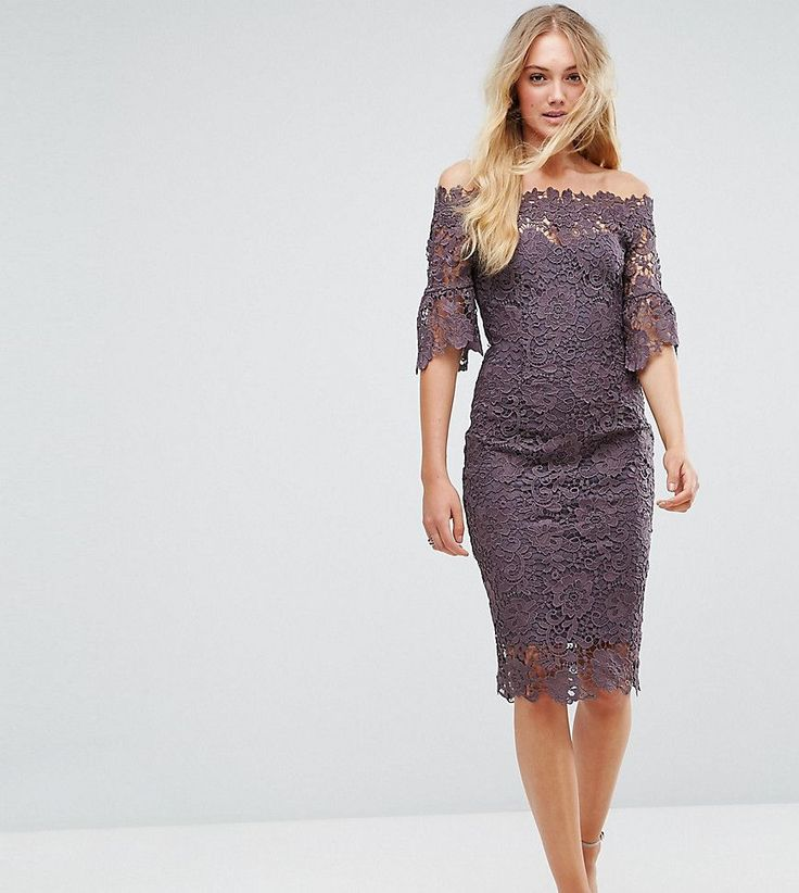 Paper Dolls Tall Off Shoulder Crochet Dress With Frill Sleeve - Gray