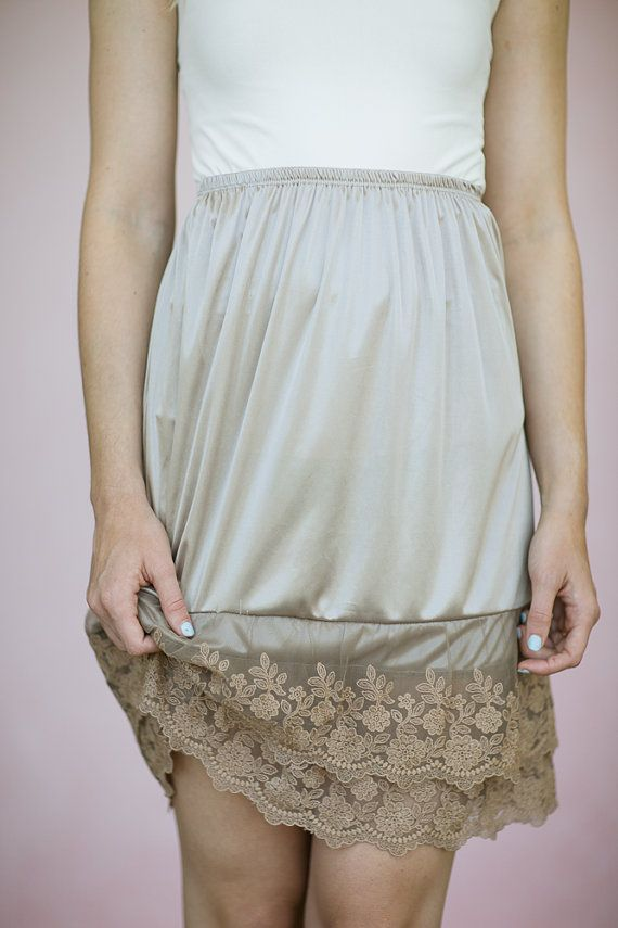 Taupe Half Slip Dress Hem Extender Taupe Modest Skirt Lengthener Half Slip Stylish Modern Vintage Dresses Extenders Layered Lace Hem on Etsy, $38.00
