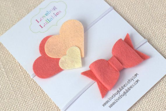 Coral Heart Headband and Felt Bow Headband or by LullabyBlossoms