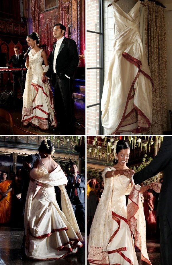 Dress designer: Angelo Lambrou, using saris and fabric from that small shop in New Delhi and Edison, NJ. Having worn her family's traditional red sari for the ceremony, Deb picked saris (and flowers for her hair) that were traditional to Sandeep's family for her reception dress.
