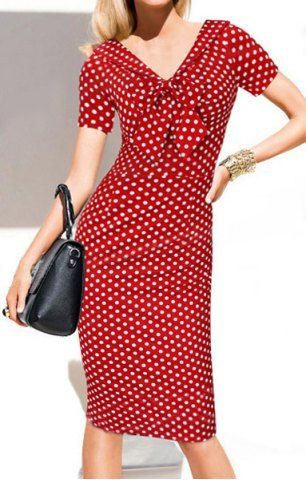Vintage V-Neck Bowknot Short Sleeve Polka Dot Women's Dress Vintage Dresses | RoseGal.com Mobile
