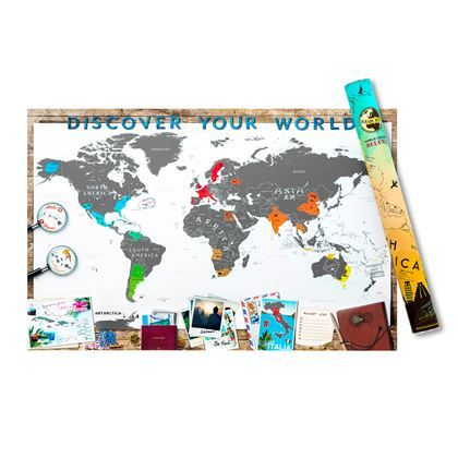 Globetrotters en wereldreizigers opgelet! Geniet ook thuis nog na van je reizen met deze Scrape Map wereldkaart deluxe Kras op deze grote poster alle bezochte landen weg en ontdek de gedetailleerde eilanden, illustraties en verborgen icoontjes.