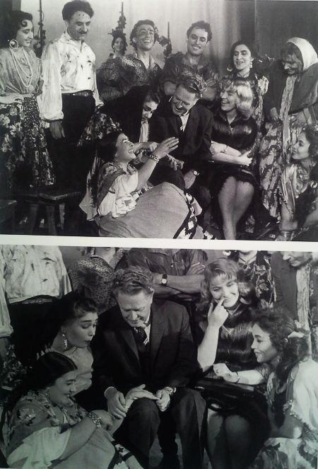 """Nâzım Hikmet ve Vera Tulyakova, """"Roman Tiyatrosu""""nun oyuncularıyla birlikte…"""