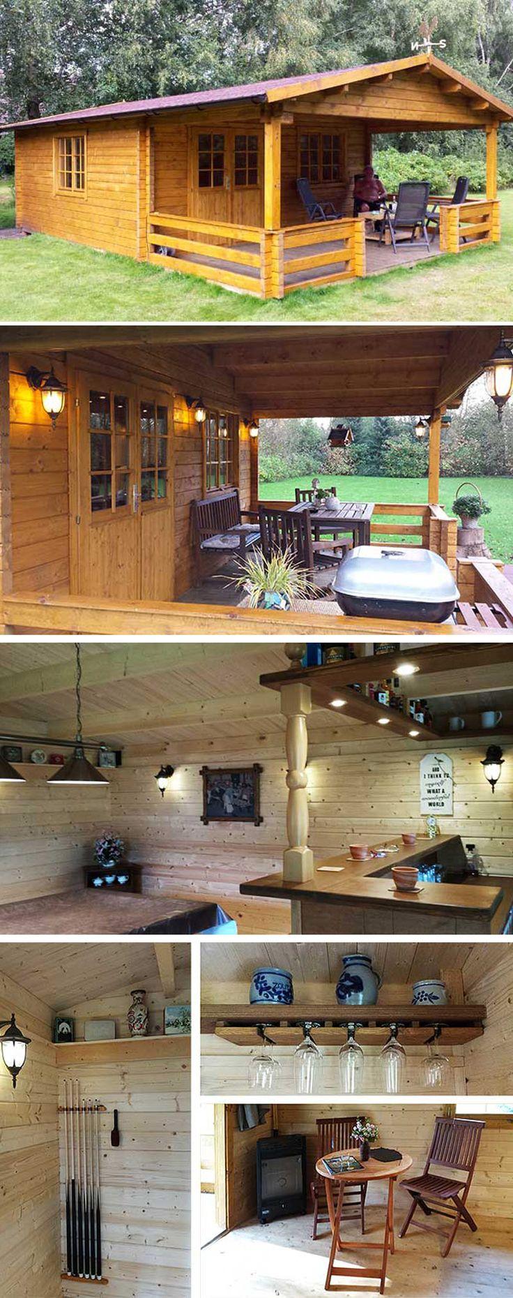 ein gartenhaus als partyhaus mit billardtisch und theke. Black Bedroom Furniture Sets. Home Design Ideas