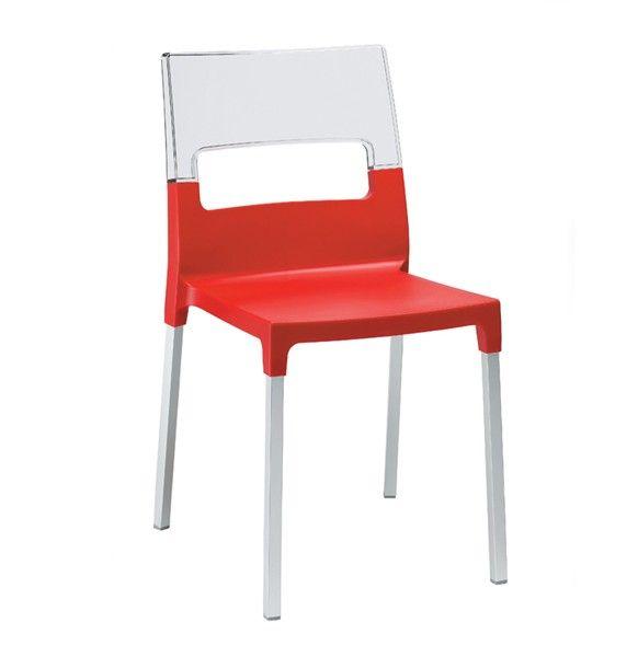 Chaise Plexi DUO Rouge et Transparent, existe en 7 coloris différents